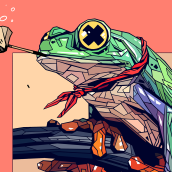 CHILLING IN THE POND / BAKER PARROT HAT. Un proyecto de Ilustración e Ilustración digital de Dani Blázquez - 08.04.2020
