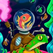 Roboturtle & Fish. A Design, Illustration, Art Direction, Graphic Design, Vector Illustration, and Digital illustration project by Camilo Ducuara Gordillo - 03.26.2020