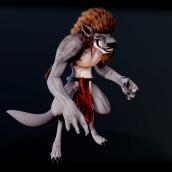 Werewolf - Animal transformation :  Modelado profesional de personajes cartoon 3D. Un projet de 3D, Esquisse , Modélisation 3D, Conception de personnages 3D , et Conception 3D de Roman C. Ojer - 10.03.2020