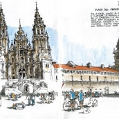 Café de L'Europe, Orense 2013. A Drawing, and Architectural illustration project by Luis Ruiz Padrón - 03.30.2020