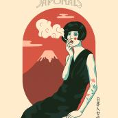 """""""Femme Japonais"""" ©2020 Hugo Giner.. Um projeto de Design, Ilustração, Artes plásticas, Design gráfico, Ilustração vetorial, Desenho, Design de cartaz e Ilustração digital de Hugo Giner - 30.03.2020"""