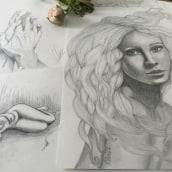 """""""El anhelo de Jane"""" retrato grafito. Un proyecto de Dibujo realista de Olivia Suero - 09.04.2020"""