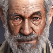 Zbursh Facial Sculpting Exercise, Ian McKellen Fanart. A 3D, and 3d modeling project by Lingjiang Liang - 04.10.2020