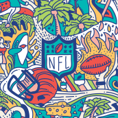 ESPN // SUPER BOWL 2020 CAMPAIGN. A Illustration, Graphic Design, Vector Illustration, and Digital illustration project by Mauro Martins - 04.15.2020