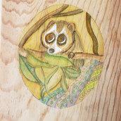 Mi Proyecto del curso: Acuarela sobre madera- LA CURIOSIDAD. Un proyecto de Pintura a la acuarela de rossanadeestrada - 24.04.2020