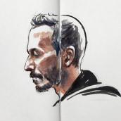 Retratos del rodaje. Um projeto de Desenho, Pintura em aquarela, Desenho de Retrato, Desenho realista e Desenho artístico de Carlos Rodríguez Casado - 25.03.2020