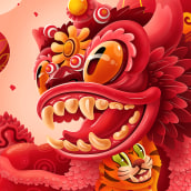 Lion Dance. A Digital illustration, Illustration, and Vector Illustration project by Lingjiang Liang - 04.30.2020