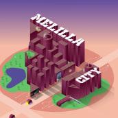 Melilla 2050,  2D Illustration and Animation for Digital Campaigns course. Um projeto de Motion Graphics, Animação, Design gráfico, Animação 2D, Animação 3D, Modelagem 3D e Lettering 3D de Antonio Hidalgo - 07.05.2020