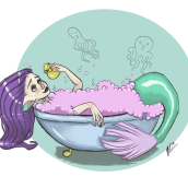 Sirena infantil. Un proyecto de Dibujo digital e Ilustración infantil de Rebeca Castillo - 18.05.2020