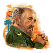 Fidel Castro Infographic. A Illustration, Infographics, Digital illustration, and Portrait illustration project by Ricardo Macía Lalinde - 05.20.2020