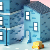 Buildings. A Illustration, 3D, Art Direction, 3d modeling, and Design 3D project by Ana Porta - 05.29.2020