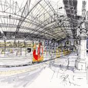 Urban Sketching . Un proyecto de Ilustración, Arquitectura, Bellas Artes, Dibujo, Pintura a la acuarela, Dibujo artístico e Ilustración arquitectónica de yolahugo - 09.06.2020