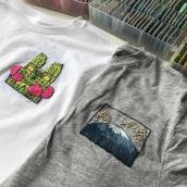 Embroidery on the t-shirts. Un progetto di Ricamo di Kseniia Guseva - 07.06.2020