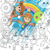 IMA Toys / Lonas Gigantes para Pintar. Un progetto di Character Design, Illustrazione digitale, Illustrazione infantile , e Design digitale di Pamela Barbieri - 14.07.2020