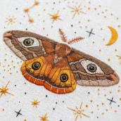 Our magical friend - The Emperor Moth. Um projeto de Bordado de Emillie Ferris - 14.08.2019