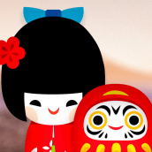 Kokeshi y Daruma. A Illustration, and Character Design project by Estudio Kudasai - 07.19.2020