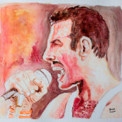Freddie Mercury. A Watercolor Painting project by Zaida Olvera - 08.02.2020