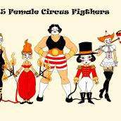 My 5 Female Circus Fighters! . Un proyecto de Diseño de personajes de franciscojmendez76 - 18.08.2020