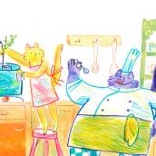 Kitty Kitchen. A Illustration, and Children's Illustration project by Cristina Martín Osuna - 08.21.2020