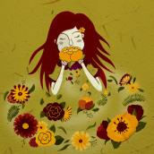 My project in Illustrated portraits with botanical elements course. Un projet de Illustration numérique de Maggie - 04.09.2020