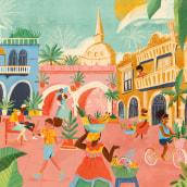 Cartagena. Un progetto di Illustrazione e Illustrazione architettonica di Natalia Rojas - 07.09.2020
