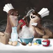 Magic otters chefs . Un proyecto de Ilustración digital, Ilustración infantil y Pintura digital de Adrika Černáčková - 15.09.2020