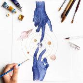Aquarelas Cósmicas (trabalhos pessoais). Um projeto de Ilustração, Pintura, Pintura em aquarela e Ilustração com tinta de Franncine de Miranda (Estúdio Luares) - 20.04.2017