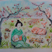 Geisha y fans. A Watercolor Painting project by Zaida Olvera - 09.26.2020
