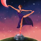 dancing with the moon. Un proyecto de Diseño, Concept Art, Dibujo de Retrato, Dibujo realista, Dibujo artístico y Dibujo digital de Jennifer Pupo Martínez - 07.10.2020
