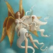 El libro de los ángeles. Un projet de Illustration, Illustration numérique et Illustration éditoriale de Rafael Yockteng - 07.10.2020