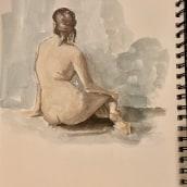 Human figure sketch in poster paint. Un progetto di Illustrazione di Alessandra Cesarato - 09.10.2020