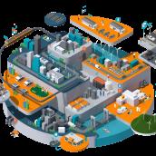 Cloudera Smart City. Un projet de Illustration, 3D et Illustration architecturale de Jing Zhang - 13.10.2020