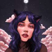 My project in Digital Fantasy Portraits with Photoshop course: L U N A  ☾. Un proyecto de Diseño de personajes, Ilustración digital y Pintura digital de Ken Caluya - 17.08.2020