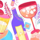 drinks, fruits & vegetables. Un proyecto de Ilustración, Pattern Design e Ilustración digital de juliana takeuchi - 19.10.2020
