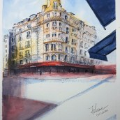 My project in Architectural Sketching with Watercolor and Ink course. A Architectural illustration project by Nora A Conti Liesac - 10.29.2020