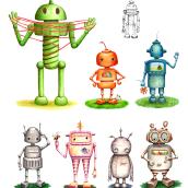 rObOts xTra T res 3 en misión Tierra -Fábrica de personajes con Patricio Betteo-. Un proyecto de Ilustración de Patricia R. Muñoz - 30.10.2020