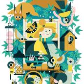 Wildlife From My Window. Um projeto de Ilustração, Ilustração vetorial, Ilustração digital e Ilustração editorial de Owen Davey - 10.05.2020