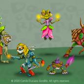Los 5 Monstruos Guerreros mágicos del Bosque . A Illustration, Art Direction, Character Design, Digital illustration, and Concept Art project by Camilo Ducuara Gordillo - 11.13.2020