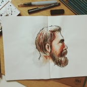 My project in Watercolor Portrait Sketchbook course. A Sketching, Drawing, Watercolor Painting, Portrait illustration, Portrait Drawing, Brush painting, Sketchbook & Ink Illustration project by Aw Sei Wei - 11.16.2020