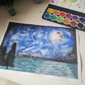 Claro de luna . A Watercolor Painting project by Laura Garnica - 11.18.2020