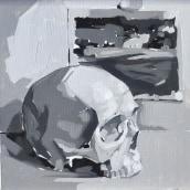Calavera en blanco y negro al óleo.. A Oil painting project by Ale Casanova - 11.20.2020