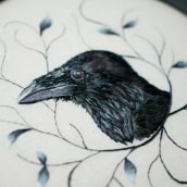 Common Raven. A Embroider, and Fiber Arts project by Yulia Sherbak - 11.12.2020