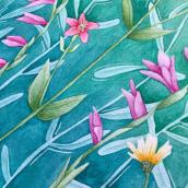 Técnicas de acuarela en negativo: flores mediterráneas. Un projet de Aquarelle de Sara Merino - 23.11.2020