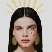 Virgen de las 3. Un proyecto de Diseño, Ilustración, Diseño gráfico, Ilustración digital, Ilustración de retrato, Dibujo digital y Pintura digital de Mónica San Pablo - 22.06.2019