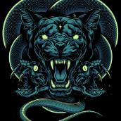 Cougar X Snakes. Um projeto de Ilustração digital e Ilustração de Daniele Caruso - 22.12.2020