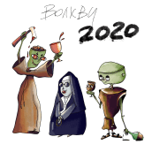 Drunken Zombie Monks. Un projet de Illustration, Character Design, Illustration numérique , et Dessin numérique de Yana Strunina - 26.12.2020