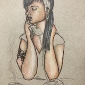 Mi Proyecto del curso: Ilustración con pastel y lápices de colores. Un proyecto de Dibujo de Retrato y Dibujo realista de silver_s - 01.01.2021