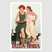 Pizza Roma Poster. A Design, Illustration, Advertising, Fine Art, Poster Design, Digital illustration, Digital Design, Digital Drawing, and Sketchbook project by Kultnation - 11.09.2020