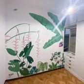 Mural botánico tropical. Un proyecto de Pintura acrílica de Romina Noel Campanelli - 06.01.2021