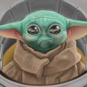 Baby Yoda. Un proyecto de Ilustración, Dibujo, Ilustración digital y Dibujo digital de Luis Robledo - 17.01.2021